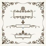 Koninklijke kronen en fleur DE lys overladen kaders stock illustratie