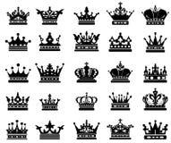 Koninklijke kroonsilhouetten royalty-vrije illustratie