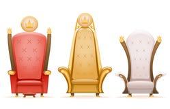 Koninklijke van de de heersers fairytale leunstoel van de troonkoning het beeldverhaal 3d geïsoleerde pictogrammen geplaatst vect royalty-vrije illustratie