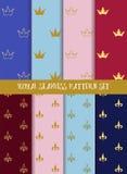 Koninklijke vector naadloze patroonreeks Kronen en lelie Royalty-vrije Stock Afbeelding