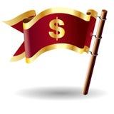 Koninklijke vlagknoop met het pictogram van de dollarmunt Royalty-vrije Stock Afbeelding