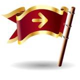 Koninklijke vlagknoop met richtingpijl ic Stock Fotografie