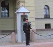 Koninklijke Wacht die Royal Palace in Oslo, Noorwegen bewaken Royalty-vrije Stock Foto's