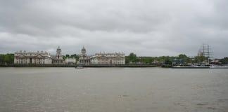 Koninklijke zeeuniversiteit en Cutty Sark, Greenwich royalty-vrije stock fotografie
