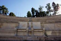 Koninklijke zetels in Panathinaiko-stadion Stock Foto