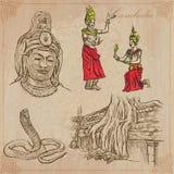 Koninkrijk van Kambodja - Hand getrokken vectorpak vector illustratie