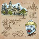 Koninkrijk van Kambodja - Hand getrokken vectorpak Stock Foto
