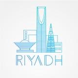Koninkrijkstoren - het symbool van Riyadh, Saudi-Arabië Modern lineair minimalistisch pictogram Één lijn sightseeingsconcept Stock Afbeeldingen