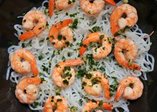 Konjac pasta with shrimps : Dukan diet concept image Royalty Free Stock Photography