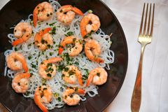 Konjac spaghetti with shrimps : Dukan diet concept image Royalty Free Stock Photography