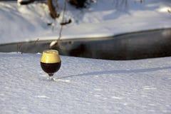 Konjakskupa i snön Royaltyfria Foton
