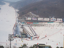 Konjiam Ski Resort, Seoul, South Korea. Holiday makers skiing at ski resort Stock Photos