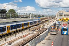 Konjunkturen im Bausektor an der neuen zentralen Station von Utrecht, die Niederlande Lizenzfreie Stockbilder