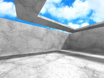 Konkret abstrakt arkitektur på bakgrund för molnig himmel Royaltyfria Foton