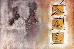 Konkret abstrakt samtida konsttryck som drar målning arkivfoto