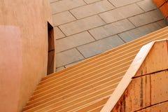 Konkret arkitektur med moment, kupolen och dörröppningen Arkivfoto