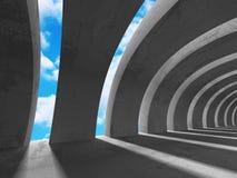 Konkret arkitekturbakgrund Minimalistic tomt rum Royaltyfri Foto