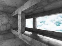 Konkret arkitekturbakgrund Minimalistic tomt rum med c Arkivfoton