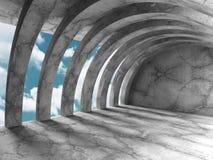 Konkret arkitekturbakgrund Minimalistic tomt rum med c Arkivbilder