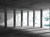 Konkret arkitekturbakgrund Minimalistic tomt rum med c Royaltyfria Bilder