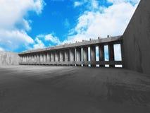 Konkret arkitekturbakgrund Modern desig för abstrakt byggnad Arkivbilder