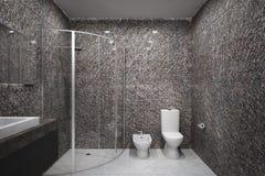 Konkret badrum för samtida arkivfoton