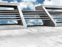 Konkret geometrisk arkitekturabstrakt begreppbakgrund med molnigt Royaltyfria Bilder