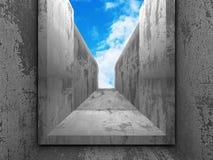 Konkret geometrisk arkitekturabstrakt begreppbakgrund med molnigt Royaltyfri Foto