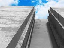 Konkret geometrisk arkitekturabstrakt begreppbakgrund med molnigt Fotografering för Bildbyråer
