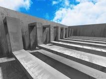 Konkret geometrisk arkitekturabstrakt begreppbakgrund med molnigt Arkivfoton