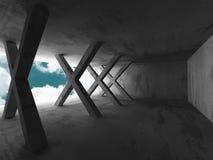 Konkret geometrisk arkitekturabstrakt begreppbakgrund med molnigt Arkivbild