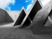 Konkret geometrisk arkitekturabstrakt begreppbakgrund med molnigt Royaltyfri Fotografi