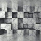 Konkret mörker tömmer rum med den kaotiska kubväggen Arkitektur b Arkivfoto
