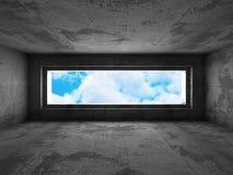 Konkret mörker tömmer rum med det stora fönstret till himmel Fotografering för Bildbyråer