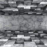 Konkret mörker tömmer rum med kaotisk kubkonstruktion Royaltyfria Foton