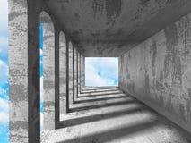 Konkret mörker tömmer rum med kolonner och ljus Stads- arkitekt Royaltyfria Foton