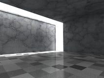 Konkret mörker tömmer ruminre med takljus Fotografering för Bildbyråer