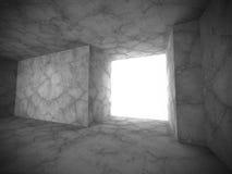 Konkret mörker tömmer ruminre med utgångsljus Arkivfoton