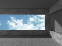 Konkret rum med fönstret till himmel Abstrakt arkitekturbackgrou Royaltyfria Foton