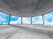 Konkret rum med fönstret till himmel Abstrakt arkitekturbackgrou Royaltyfri Fotografi