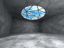 Konkret rum med fönstret till himmel Abstrakt arkitekturbackgrou Royaltyfria Bilder
