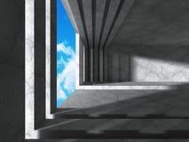 Konkret rum med fönstret till himmel Abstrakt arkitekturbackgrou Arkivfoton