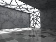 Konkret tomt mörkt rum med takljus Abstrakt architectu Arkivfoton