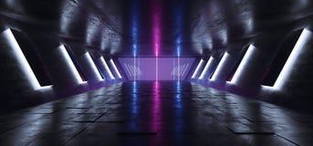 Konkret Tunel för futuristisk Grunge för Sci Fi främmande skepp modern mörk tom reflekterande korridor med stora Hall Wall Lights royaltyfri illustrationer