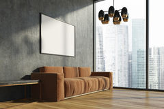 Konkret vardagsrum, brun soffa, affisch vektor illustrationer