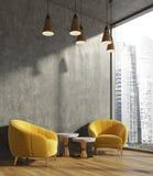 Konkret vardagsrum, gula fåtöljer royaltyfri illustrationer