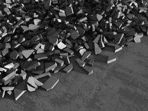 Konkreta kaotiska fragment av explosionförstörelseväggen Royaltyfria Bilder