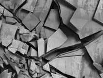 Konkreta kaotiska fragment av explosionförstörelseväggen Abstra Arkivbild
