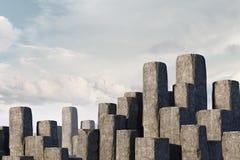 Konkreta kolonner som graf Blandat massmedia Royaltyfri Fotografi