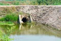 Konkrete Abflussrohre in der Zuleitung, im Abwasser und im Wasser Stockfotografie